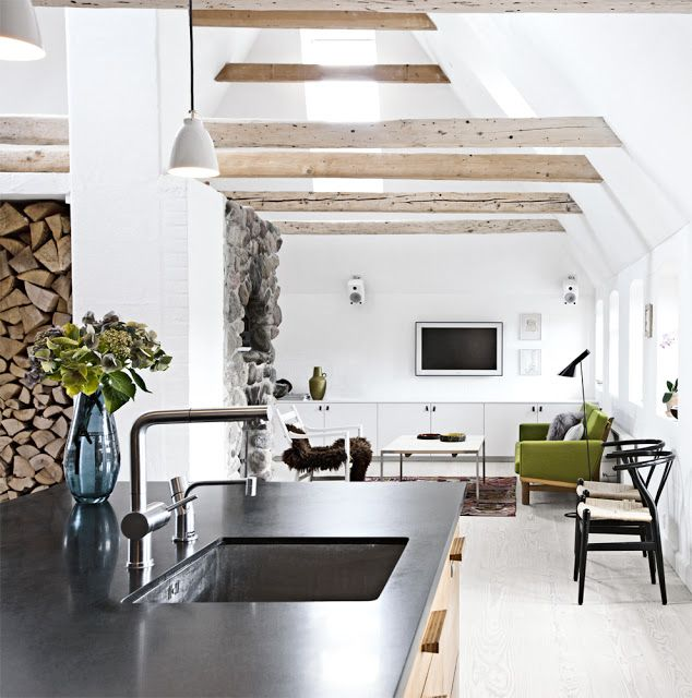 Example of recycled wood for exposed Beams