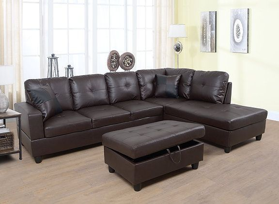 F093b 3 Pc Aiden Espresso Faux Leather Sectional Sofa With Chaise And Storage Ottoman Diy Decorating Furniture Sectional Sofa With Chaise Sectional Sofa Sectional Sofa Couch