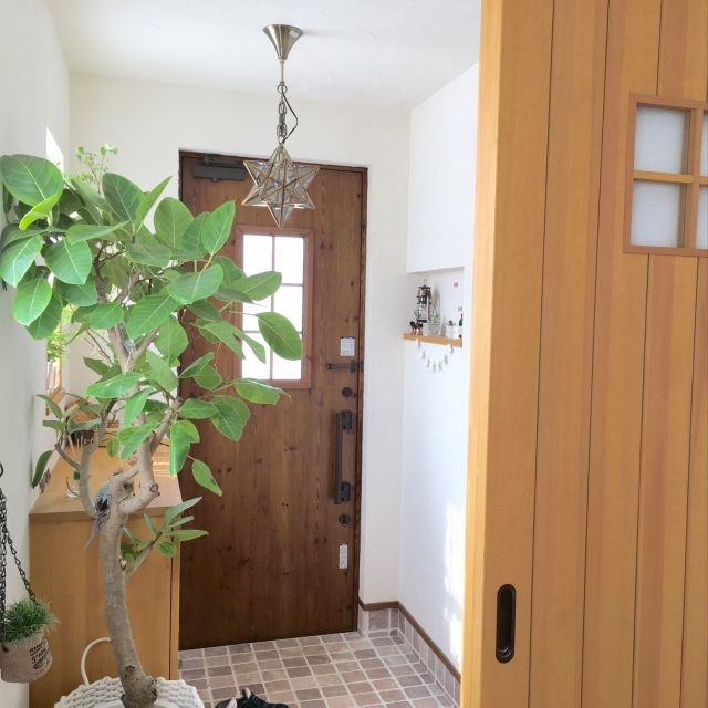 moeさんの、Entrance,ナチュラル,ドア,ニッチ,漆喰壁,ファインタンブルストーン,エトワールペンダントライト,フィカスアルティシマについての部屋写真