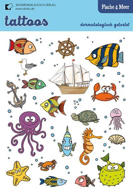 Tolle Kinder-Tattoos von Skoko.de - mit Fischen & Meer