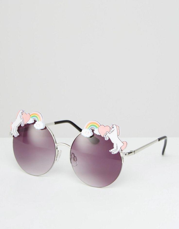 Image 1 of ASOS Unicorn Trim Detail Metal Round Sunglasses | Beautiful Cases For Girl