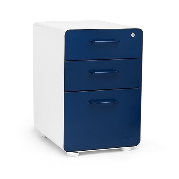 White + Navy Stow 3-Drawer File Cabinet,Navy