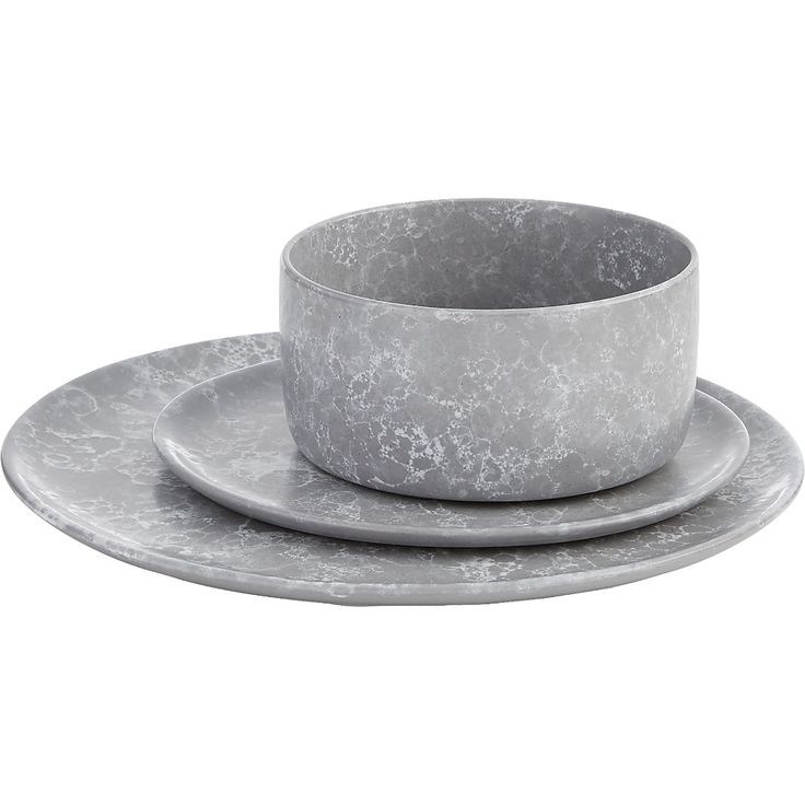 Shop Froth Grey Dinnerware. Stoneware lays an ultra-flat surface for light grey and milky white marble-like glaze that bubbles and swirls throughout. CB2 exclusive.