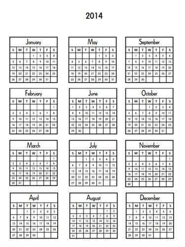 Printable 2014 mini calendars for crafts digital download