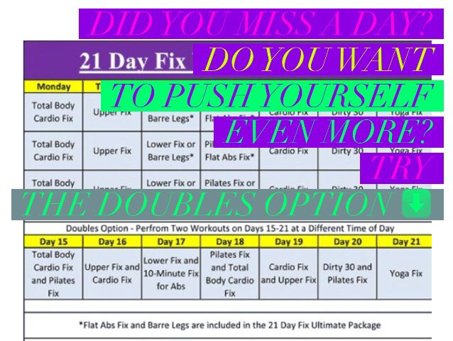 I wouldn't want you to skip a workout during the 21 Day Fix, but sometimes it's out of your control. If this happens, you can double up your workouts the next day to make up for it. Use this Doubles workout schedule to see which two workouts to put together. More info. Here: Www.facebook.com/groups/newyearnewyou21dayfix/