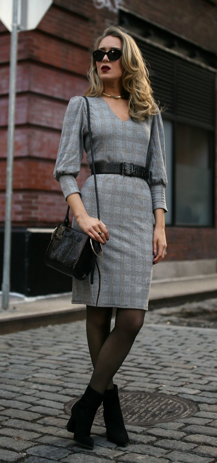 My favorite black boots styled two ways! // Long camel coat, grey plaid long-sleeve dress, black suede booties, black embossed belt, sheer tights, black sunglasses, dark red lip {Tamara Mellon, Theory, Nordstroms, Chanel, Mango, workwear, office style, winter outfits, fashion blogger, what to wear}