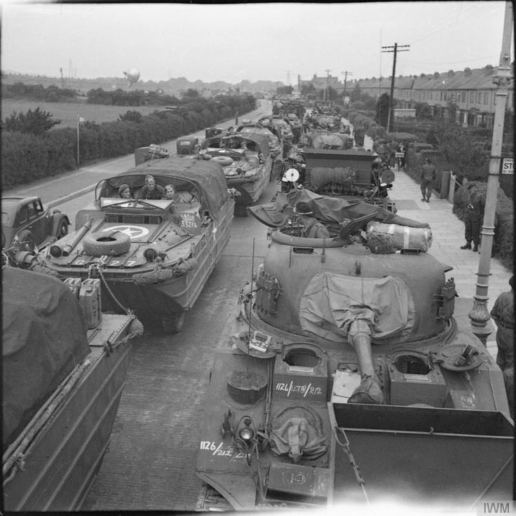 DUKWs pass Sherman tanks of 13th/18th Royal Hussars, Gosport, 2nd June 1944