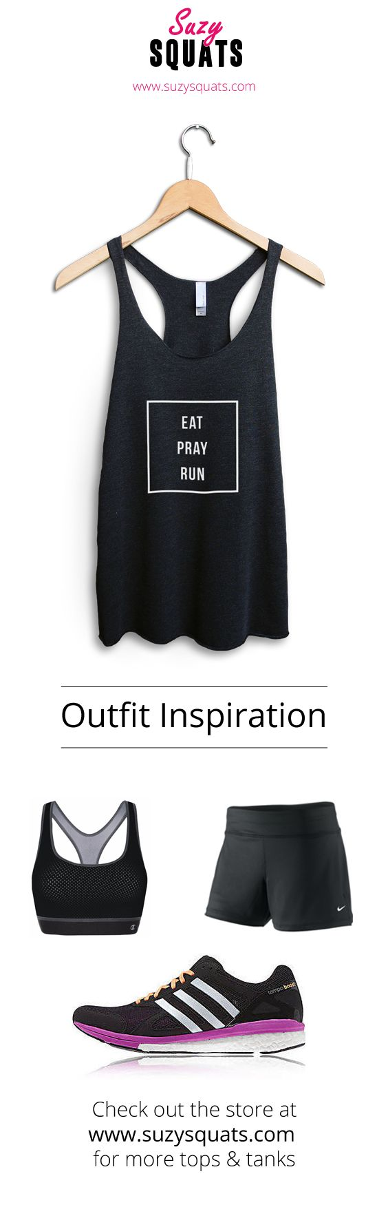 Suzy Squats funny running tank top, perfect to wear during your next run or as a gift for a running loving friend! You can find more funny workout clothing for running at the Suzy Squats store by clicking the link above.