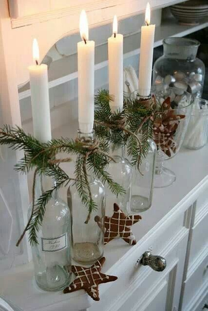Easy DIY- candles in glass jars with a sprig of greenery and a ribbon- great activity for the kids!