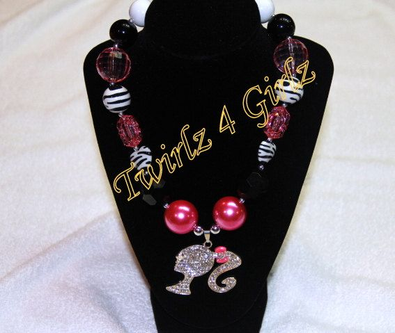 Never enough Barbie  Chunky bead necklace with by Twirlz4Girlz, $17.00