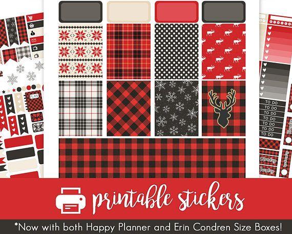 Printable Planner Aufkleber Winter Buffalo Plaid Weekly Kit für Januar! Zur Verwendung mit Erin Condren