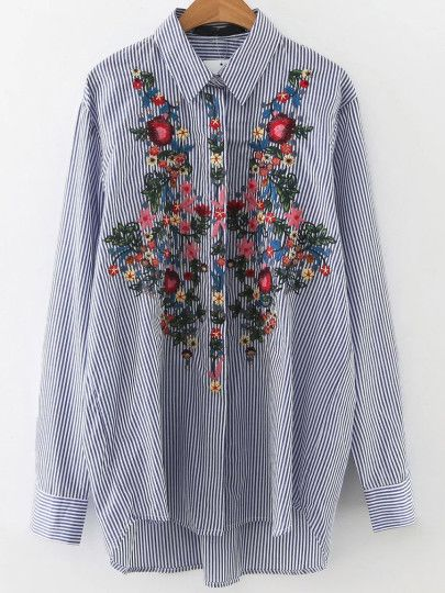 Blouse à rayure verticale en broderie floral - bleu Only US$21.00