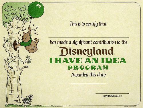 1980s Disneyland I Have An Idea certificate | Tom Simpson | Flickr