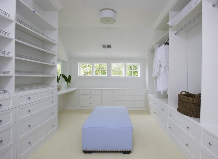 Lynn Morgan Design Huge Walk In Closet With White Built Shelves Cabinets Vanity And Blue
