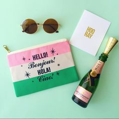 Hello Bonjour Hola Ciao Travel Makeup Pouch. This is a travel pouch or makeup bag that has AKA sorority colors and/or a French theme. Perfect gift.