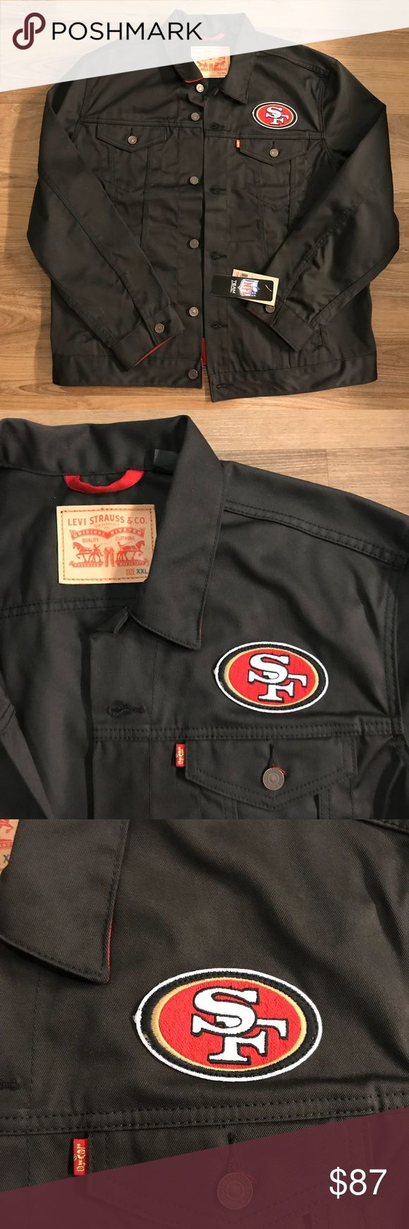Levi's NFL Denim Jacket New with tag, never worn Levi's 49ers Jackets. Black denim. Size XXL but fits like an XL. I also have one in size medium that is true to size. Levi's Jackets & Coats