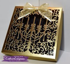 Gift Box made using Crafter's Companion Die'sire Everyday Create A Card Die - Grand Candelabra. Designed by Rachel Webber #crafterscompanion