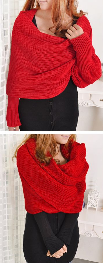 Wrap scarf with sleeves