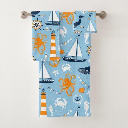 Blue and Orange Nautical Scene Pattern II Kids Bath Towel Set - home decor design art diy cyo custom
