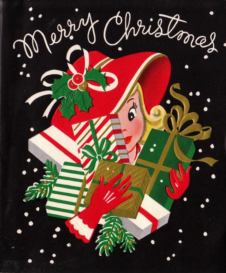 Vintage Merry Christmas Greetings Card