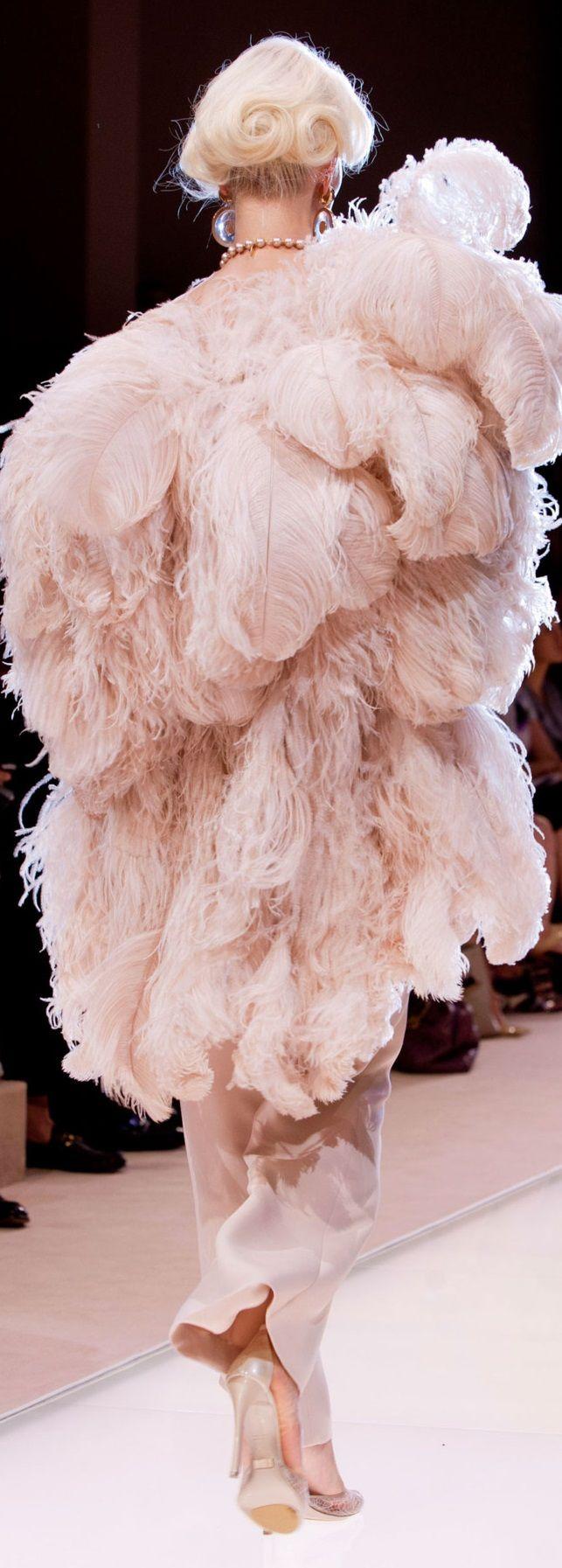 Rosamaria G Frangini | Blush Desire | Feather fashion #Luxurydotcom