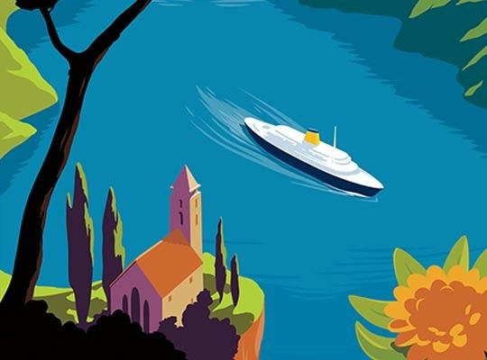 Flat Graphic illustration of cruise boat by Gary Redford