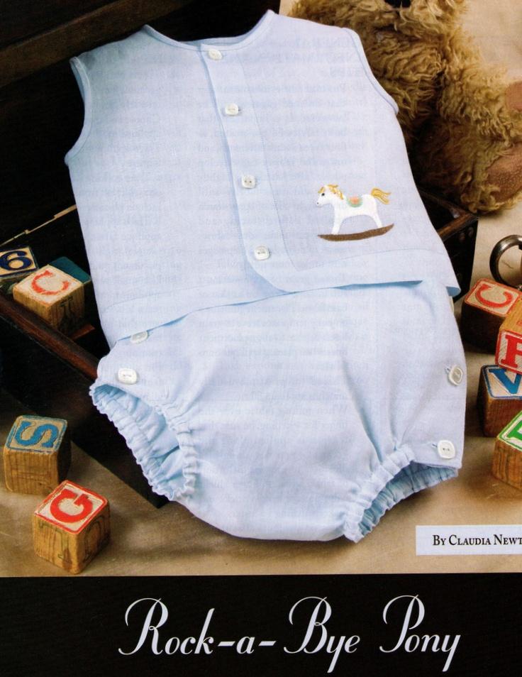 #121 2008 - Rock-a-bye Pony Diaper Set, sz. NB-6mo., designed by Claudia Newton