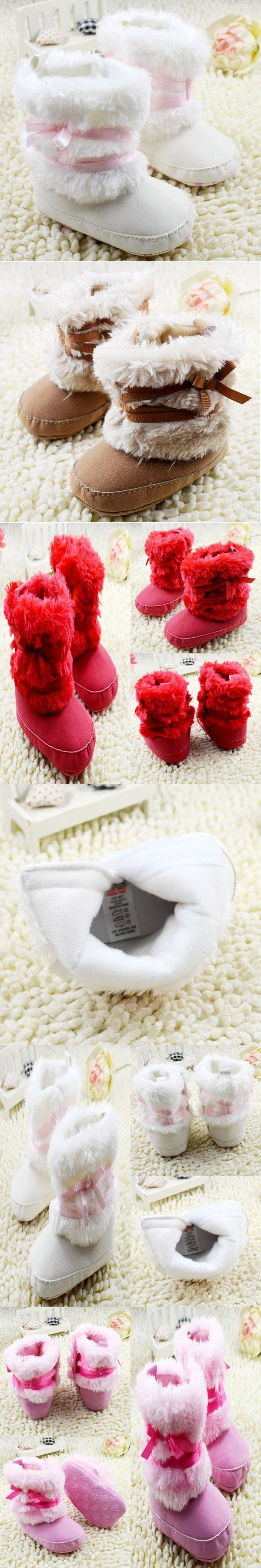 Newborn Baby Girls Bowknot Shoes Soft Crib Shoes Toddler Infant Warm Fleece First Walker baby girls shoes Winter
