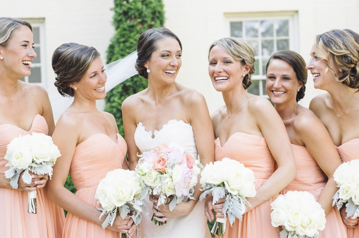 Our Peach Fuzz Laura dress looks so great on these gals! #donnamorganbridesmaids #peachfuzz  Krista Jone Photography
