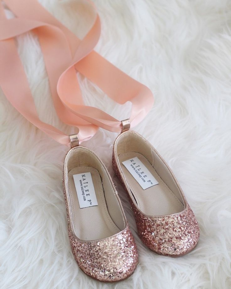 a3c2095b8a ROSE GOLD Rock Glitter Ballet Flats with Satin Ankle Strap - Flower ...