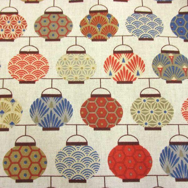 Weiteres - Stoff Baumwolle Japan Lampions blau rot Chochin  - ein Designerstück von werthers-stoffe bei DaWanda
