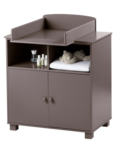 commode b b poupon 2 tiroirs niche rose taupe blanc