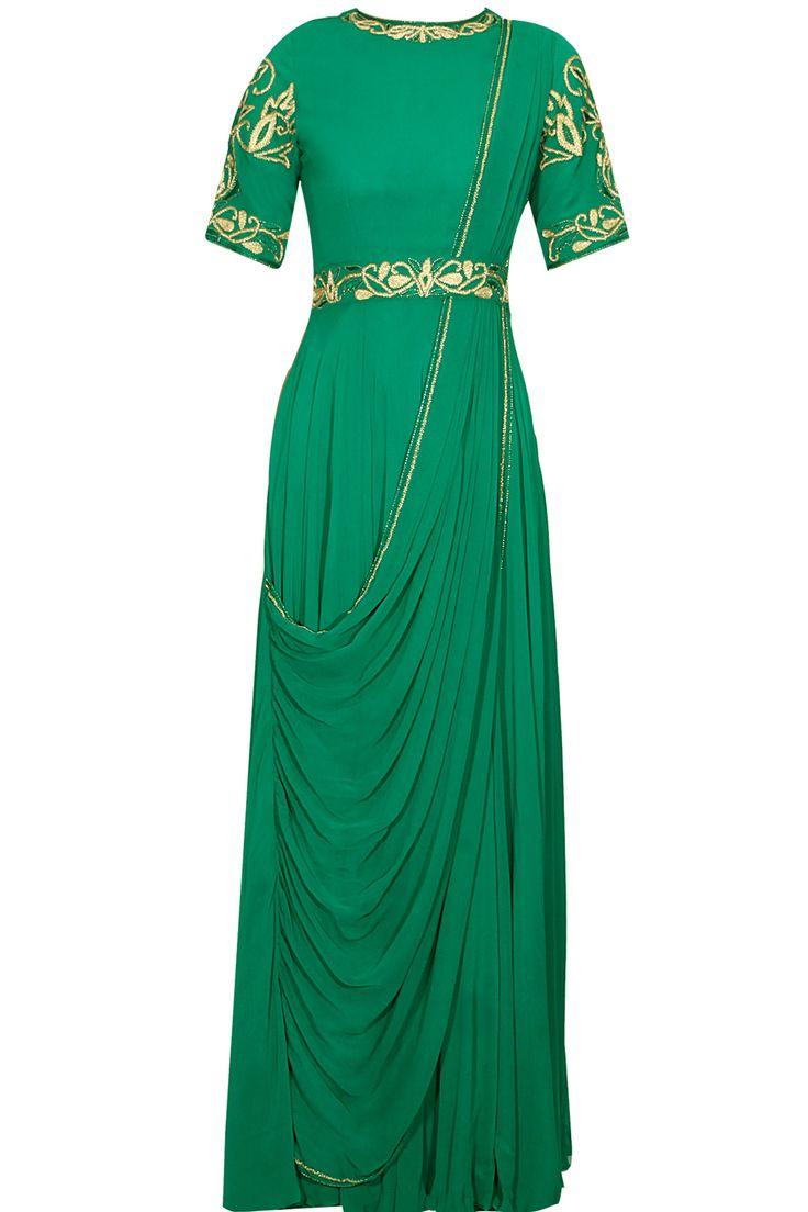 Green resham work draped anarakli suit by Anjali Bhaskar