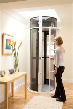 Residential elevator: Pneumatic vacuum, so nothing to oil, self-supporting so no basement needed, low power.