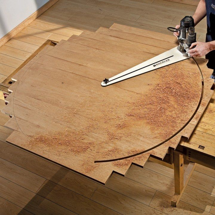 "Cut flawless circles from 10"" to 52"" in diameter without complicated math equations. The Rockler Circle Cutting Jig sets up in minutes and mounts quickly to many popular routers made by Porter Cable, Makita, Hitachi, DeWalt, and Bosch."