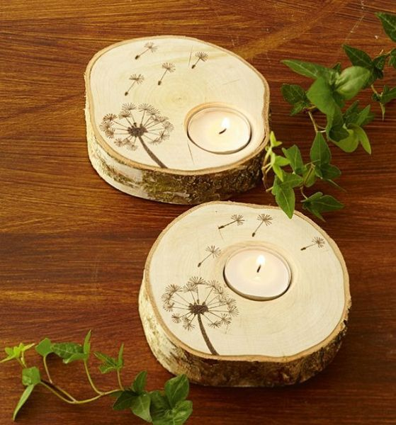 wood burn - Candle holder