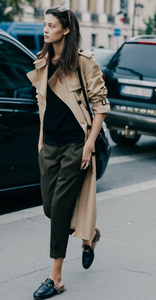What to Wear to Work, Business Casual: Cuffed Ankle Pant, Loafers, Trench Coat