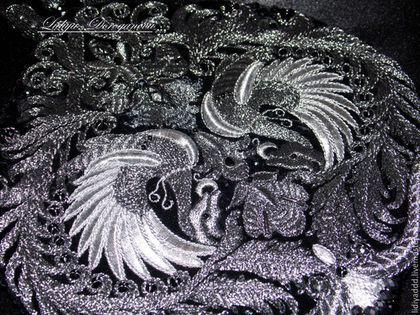 """Женские сумки ручной работы. Сумочка """"Ренессанс II""""  с монограммой в черном, ручная вышивка. Lid'oro  золотное шитье. Ярмарка Мастеров."""