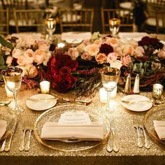Semple Mansion Wedding. Gold and Burgundy