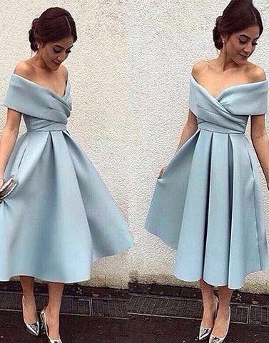 light blue homecoming dress, short homecoming dress, off shoulder prom dress, cheap homecoming dress, satin homecoming dress, BD32871