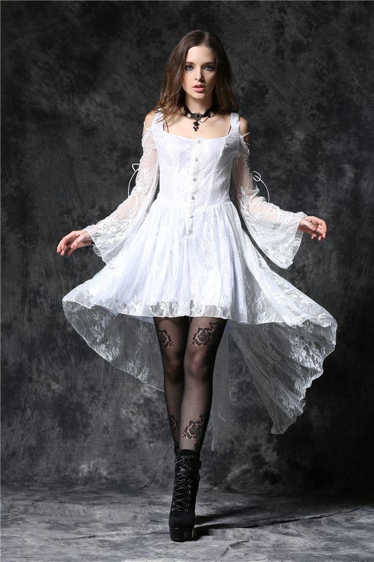 Robe blanche epaules nues et manchew en dentelle elegante gothique romantique > JAPAN ATTITUDE - DARKIL028   Shop : www.japanattitude.fr