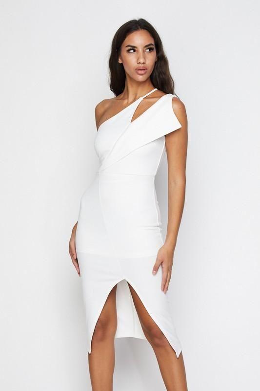 0c88ba8284 White One Shoulder Front Slit Body-con Dress | Little White Dresses ...