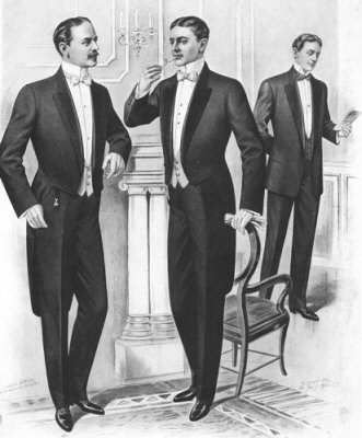 Edwardian male: For evening, men's attire was strictly composed of a black dress coat, white waistcoat and trousers matching the coat. The dress coat was double-breasted with a cut-away front and two tails at the rear.