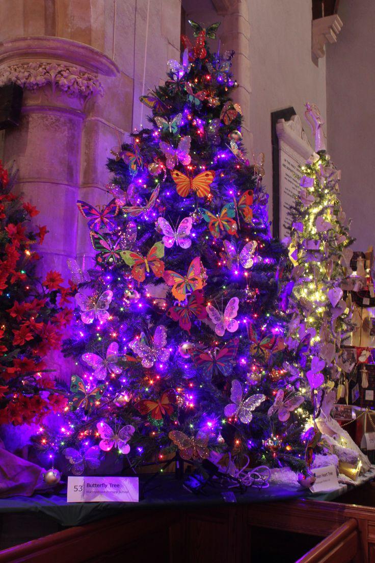 Christmas tree decorations purple - Christmas Tree Butterflies