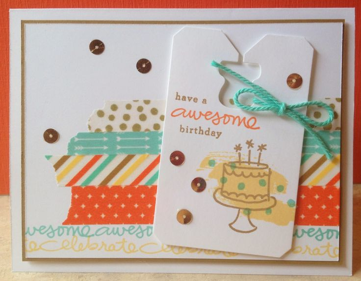 What a fun birthday card.: Cards Challenges, Cards Ideas, Birthday Wishes, June Cards, Birthday Cards, Endless Birthday, Stamps Sets, Washi Tape, Photopolym Stamps
