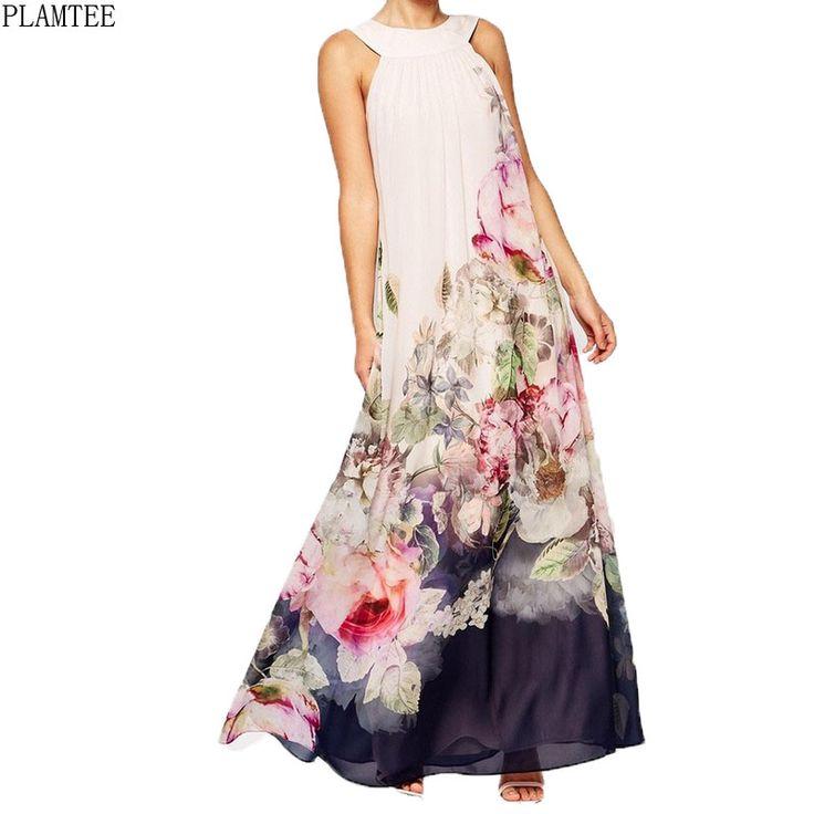 Multicolorful Floral Printed Summer Dress Women 2017 Sleeveless Party Dresses Elegant Long Vestido De Festa Retro Zomer Jurk