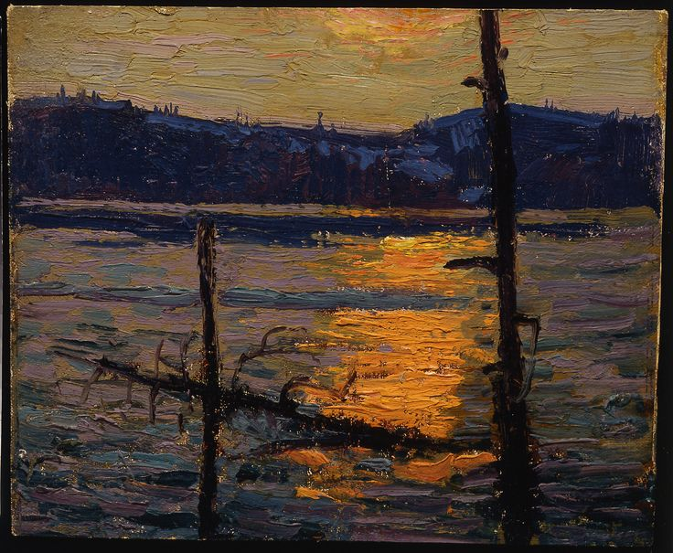 Tom Thomson Catalogue Raisonné | Sunset, Canoe Lake, Spring 1916 (1916.60)…