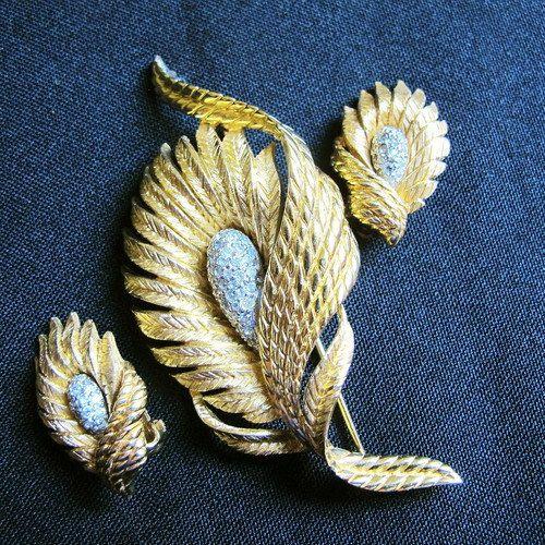 Vintage Demi Parure, Brooch and Earring Set, Gold Tone w Rhinestones by DesignerShowcase on Etsy