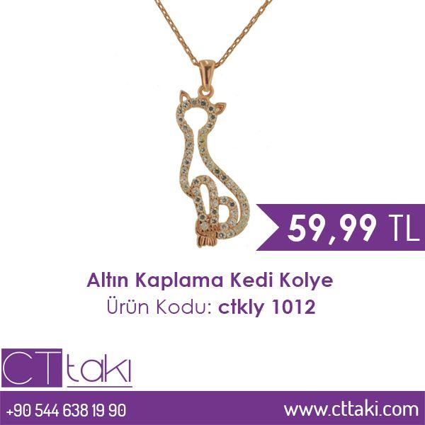 Altın Kaplama Kedi Kolye. 59,99 TL fiyatı ile CT Takı'da. #altın #kaplama #kedi #kolye #indirim #fiyat #ucuz #takı #tasarım #takıtasarım #şık #aksesuar #moda #trend #trends #women #kadın #cttakı