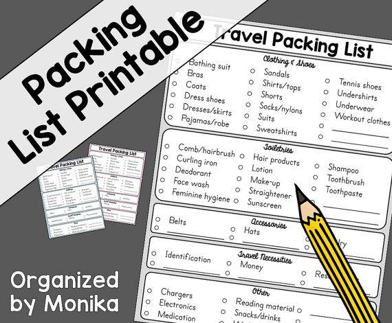 13 parasta kuvaa Organizing Templates\/Printables Pinterestissä - packing checklist template